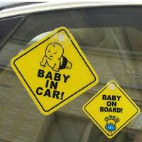 Lovely 2PC Safety Caution Sign Durable Sucker Sticker Baby On Board Car Sticker