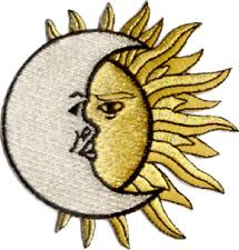 16065 Sun Over Moon Faces Celestial Hippie Hippy Earth Stars Sky Iron on Patch