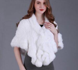 Real Knitted Rabbit Fur Cape Ruffle Hem Women Genuine Fur Shawl Wrap Cloak Stole