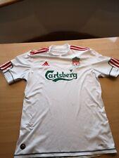 Liverpool FC Football Shirt Away 3rd Jersey 2009/10 White Addidas Size M