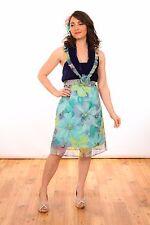 Vestido de Boda Vintage Blue Velvet & Chifón Vestido Razas ocassionwear Verano Cuello