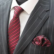 Tie Neck tie with Handkerchief Burgundy & Black Stripe