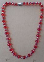 """12mm 8mm RONDELLE CRYSTAL  6mmSquar 4mm silver bicone NECKLACE 21.1/2"""" MAG CLASP"""
