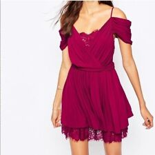 The Jetset Diaries Burgundy Mantra Dress Size XS Off Shoulder Pleated Lace Inset