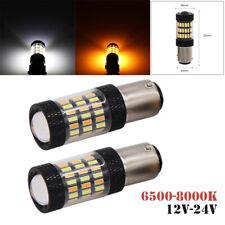 Pair 1157 4014 Led Dual Color White&Amber Switchback LED Turn Signal Light 12V