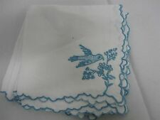 6 VINTAGE WHITE LINEN NAPKINS w EMBROIDERED BLUE PARROTS BIRDS & BERRIES 10.5""