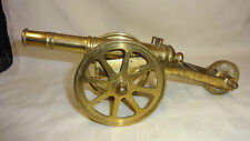 VINTAGE BRASS MODEL OF A CANNON - 3 WHEEL CARRIAGE