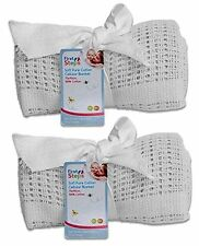 Pack of 2 100% Cotton Cellular Baby Pram,Cot,Crib or Mosses Blanket