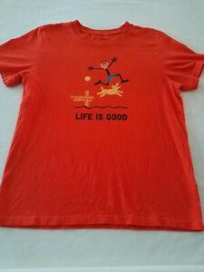 Life Is Good Youth Boys orange cotton Graphic T Shirt XL tee shirt dog