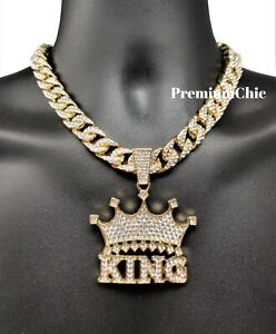 XL Crowned King Pendant Necklace with Rope or Cuban Chain Mens Hip Hop Jewelry