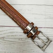 Stacy Adams Mens 32 Brown Genuine Snakeskin Leather Embossed Crocodile Belt