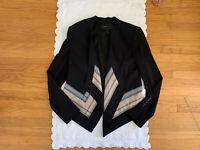 $368 BCBG Max Azria ABREE Womens sz XXS black scarf print open front jacket