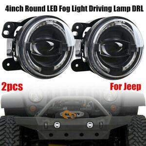 2PCS 30W 4'' LED Driving Fog Light Lamps White DRL 6000K For Jeep Wrangler JK