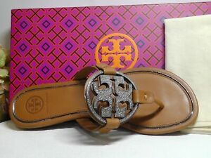 Tory Burch TAN Leather Metal Miller Embellished Thong Sandals Size 8**NIB**