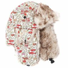 Colourful White and Red Floral Patterned Trapper Hat Size 58cm