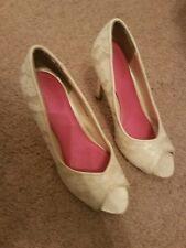 ivory white peep toe lace heels wedding bridal size 7