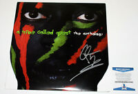 Q-TIP SIGNED A TRIBE CALLED QUEST 'THE ANTHOLOGY' VINYL RECORD LP BAS COA RAP