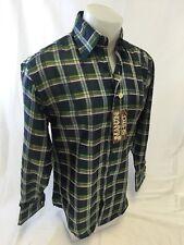 Mens MANZINI Button Down Dress Shirt Woven PLAID Designer FRENCH CUFFS 212 GREEN