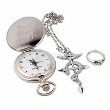 Cosplay Full Metal Alchemist Edward Elric Pocket Watch Cross Snake Necklace Ring