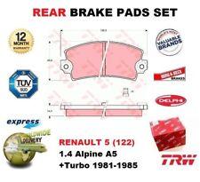 Para Renault 5 (122) 1.4 Alpine A5 + Turbo 1981-1985 Eje Trasero Pastillas de