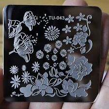Metal Manicure Template Nail Stamping Plates Lotus Daisy Flower Image TU43