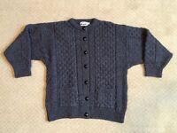 ARAN CRAFTS Women's Cardigan Sweater LARGE Dark Gray 100% Wool Made In Ireland