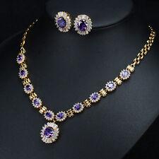 925 Sterling Silver Purple Created Sapphire White Topaz beautiful Jewelry Sets