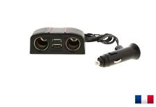 Multiprise 2 USB Rallonge 2 Allume Cigare 12V et 24V Adaptateur Chargeur Voiture