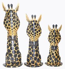 Giraffe Heads Mounts Set 3 Wood Sculpture Statue African Art Handmade Safari