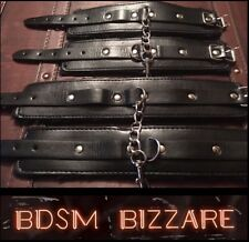 Bondage kit Leather wrist ankle hand cuffs restraints HARDWEARING QUALITY SET