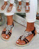 New Womens Flatform Sandals Embellished Slingback Comfy Holiday Shoes Sizes 3-8