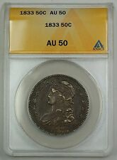 1833 Capped Bust Silver Half Dollar Coin 50c ANACS AU-50 GBr