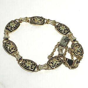 Set VINTAGE Damascene Gold /& Black Metal Cuff Link Costume Clothing Adornment Accessory Embellishment Jewelry