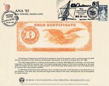 BEP SOUVENIR CARD B82 1985 SHOWING 1882 $500 GC RARE DOUBLE CANC *INCL BABE RUTH