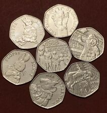 2018 Set 7x UK New 50p Coins Full Set  Beatrix Potter, Act & Pair Paddington UNC