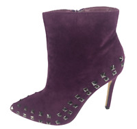 Womens Ladies Purple Faux Suede High Heel Party Shoes Ankle Boots Size UK 7 New