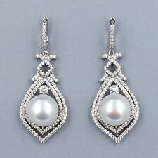 Genuine Cultured Freshwater Pearl Sterling Silver CZ Dangle Drop Earrings  01226