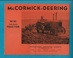 IH McCORMICK-DEERING W-30 TRIPLE-POWER TRACTOR 4 PAGE BROCHURE 1930s