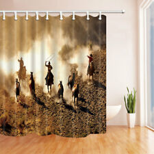 Western Cowboy and Horses Farm Animal Bathroom Fabric Shower Curtain & 12 Hooks