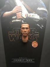 "Hot Juguetes Star Wars Rogue uno chirrut imwe 12"" cabeza esculpida Suelto Escala 1/6th"