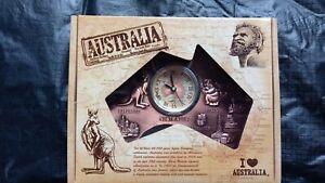 1 Australia souvenir bronze colour map battery operated clock on stand 13cmX15cm