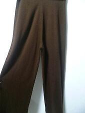 Pantalon large en lainage marron taille élastique. T 38