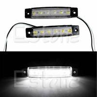 2X 6-LED Bus Van Boat Truck Trailer Side Marker Tail Light Lamp 12V White