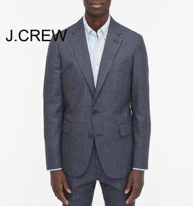 J.CREW Ludlow blazer glen plaid blue navy cotton wool suit jacket AO633 slim 36R