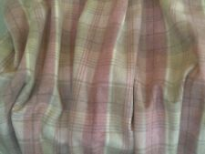 PURE WOOL PINK LARGE CHECK INTERLINED/LINED DOOR CURTAIN WITH VELVET BORDER