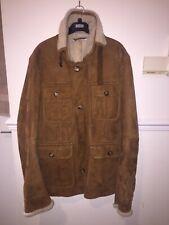 Yves Saint Laurent Mens Beige Shearling Suede Trapper Jacket/coat