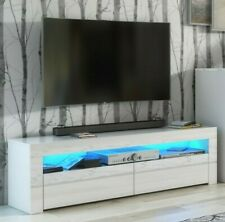 Modern WHITE High Gloss Doors Top TV Cabinet Entertainment Unit Blue LEDs Lily