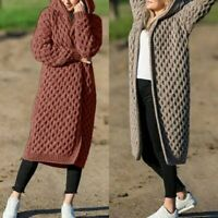 Coat Outwear Women's Knitted Sweater Hooded Sleeve Cardigan Thick Fashion Long