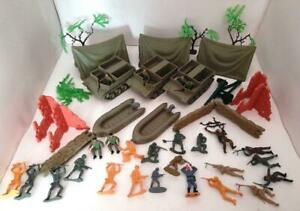 Vintage 1970's Plastic Toy Soldiers, Vehicles & Other Accessories