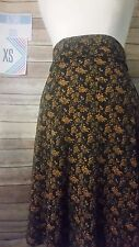 New LuLaRoe XSmall Navy Blue Azure Skirt with Small Gold Roses Retail $35